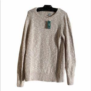 LL Bean Heathered Cotton Tan White Sweater Beige